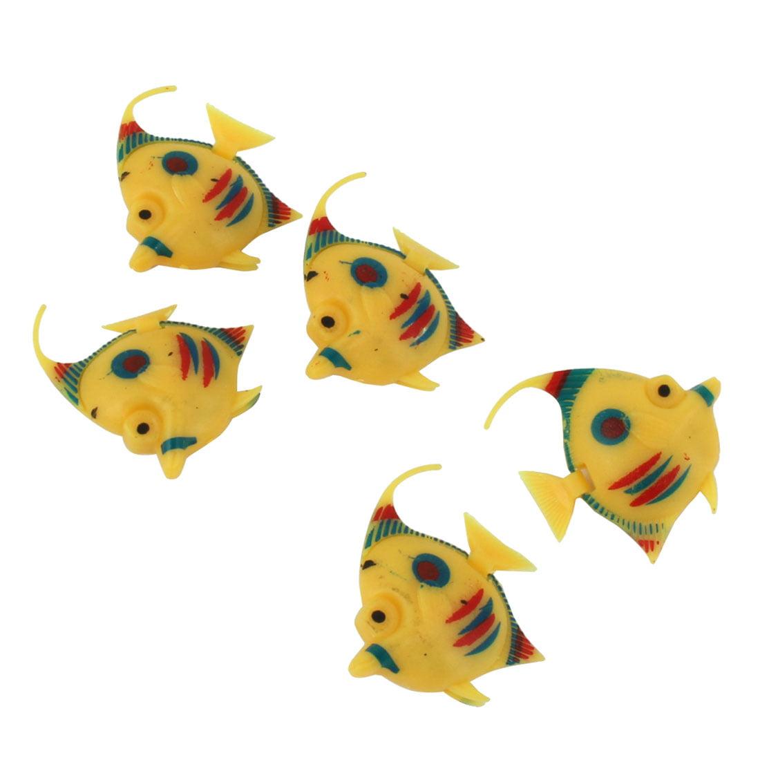 Aquarium Plastic Simulated Floating Fish Decoration Ornament Yellow 5pcs