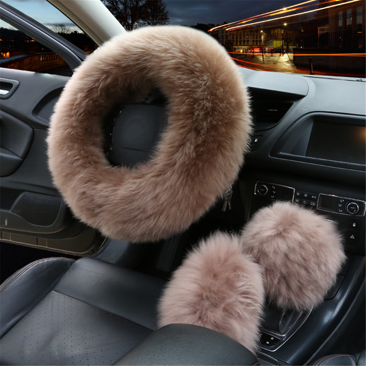 "3Pcs 14.2""Winter Furry Car Steering Wheel + Gear Knob Shifter Parking Brake Cover Set Fashion Accessories"