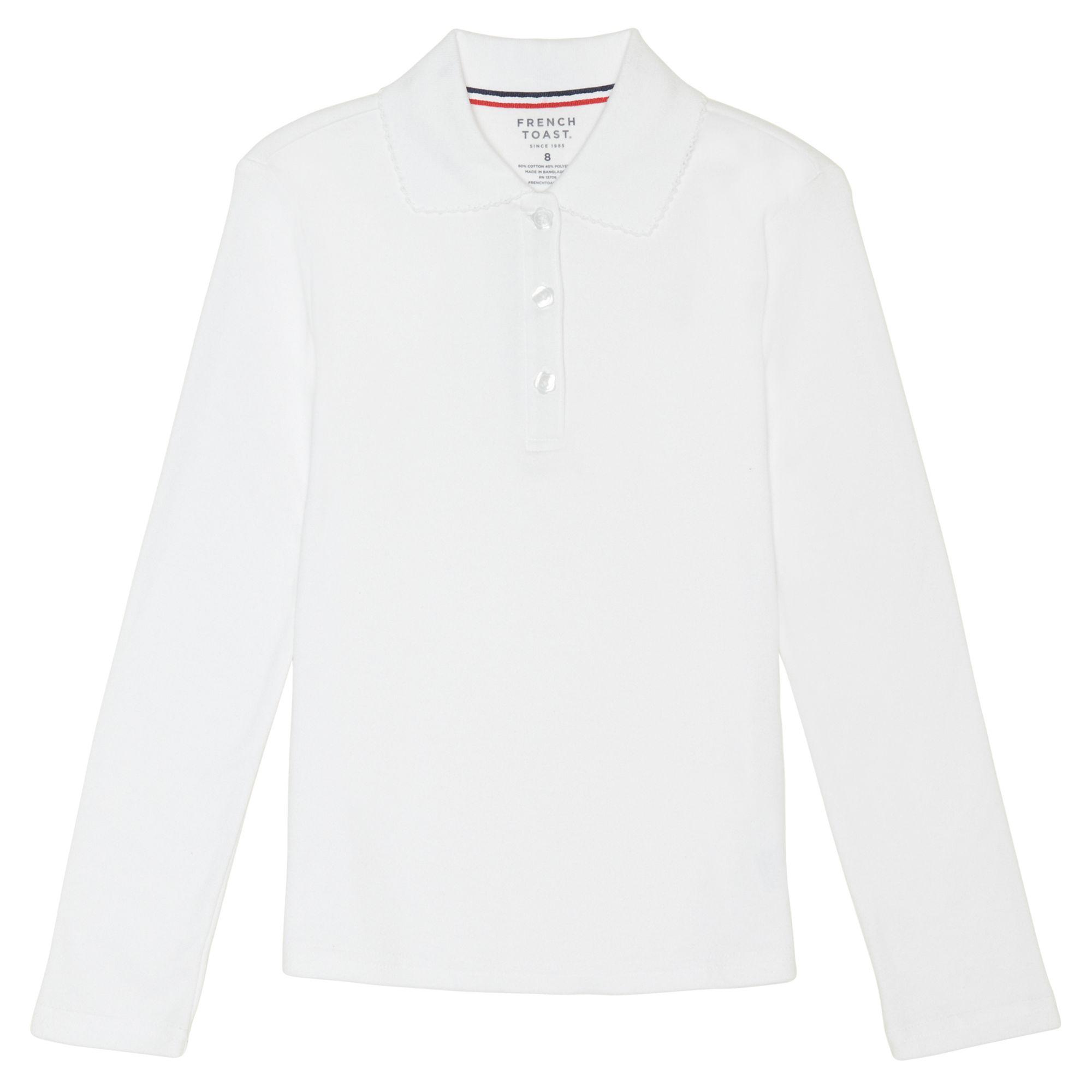 Long Sleeve Picot Collar Interlock Polo Shirt (Little Girls & Big Girls)