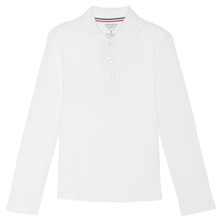 French Toast Girls Plus School Uniform Long Sleeve Picot Collar Interlock Polo Shirt (Plus) ()