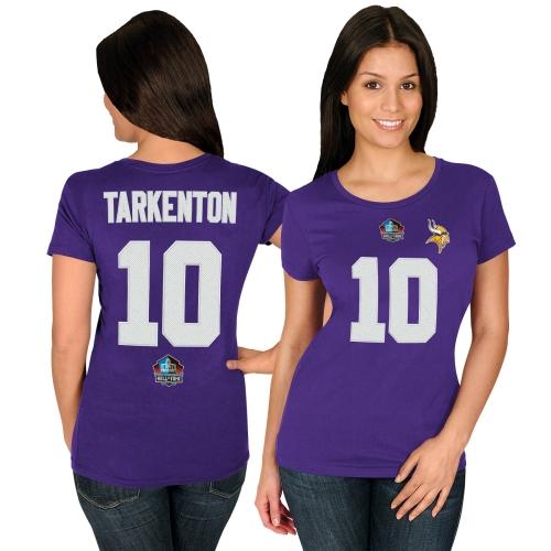 Fran Tarkenton Minnesota Vikings Majestic Women's Hall of Fame Fair Catch V T-Shirt - Purple
