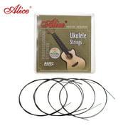 Alice AU02 Soprano Ukulele Ukelele Uke Strings Set(B-F-D-A) Black Nylon (.022-.032)