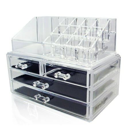 Acrylic Makeup Organizer Cosmetic Jewelry Display Box 2 Piece Set by AcryliCase ()
