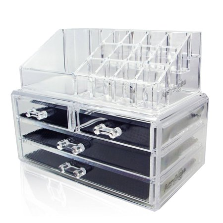 Acrylic Makeup Organizer Cosmetic Jewelry Display Box 2 Piece Set by (Cosmetic Organizer)