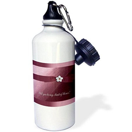 3dRose Maid of Honor, Rose Pink Ribbon with Flower , Sports Water Bottle, 21oz