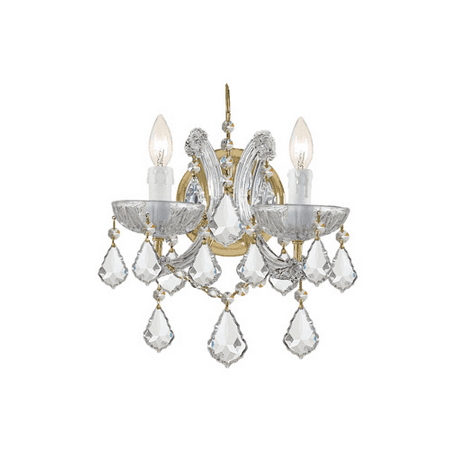 Wall Sconces 2 Light With Gold Clear Swarovski Strass Crystal Glass Candelabra 10 inch 120 Watts - World of Lighting