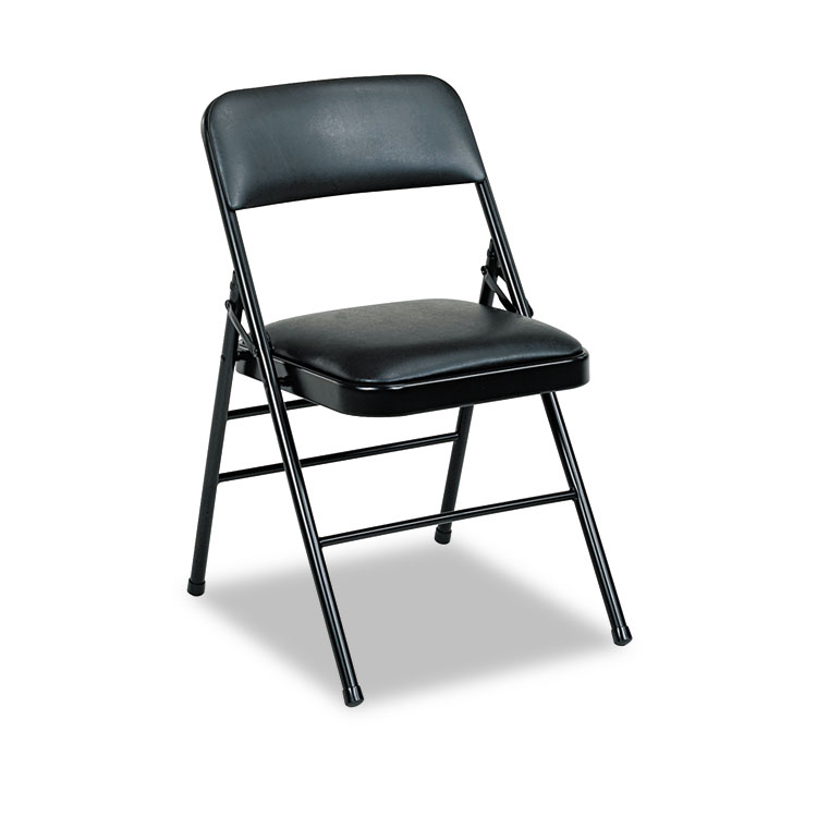 Cosco Deluxe Vinyl Padded Seat & Back Folding Chairs, Bla...