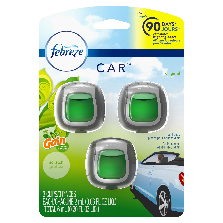Febreze Car Air Freshener Vent Clips With Gain Scent Original 3 Count