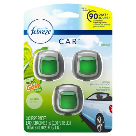 Febreze Car Air Freshener Vent Clips with Gain Scent, Original, 3 Count