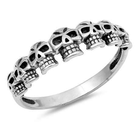 Biker Skull Oxidized Dia de los Muertos Ring ( Sizes 4 5 6 7 8 9 10 11 12 ) 925 Sterling Silver Band Rings by Sac Silver (Size - Plastic Skull Rings