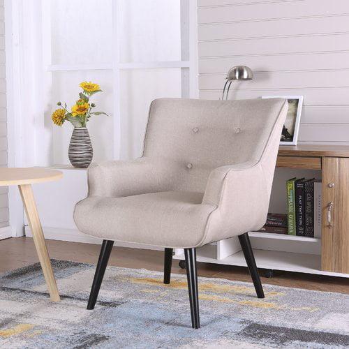 Ocean Bridge Furniture Alicia Accent Wingback Chair, Beige