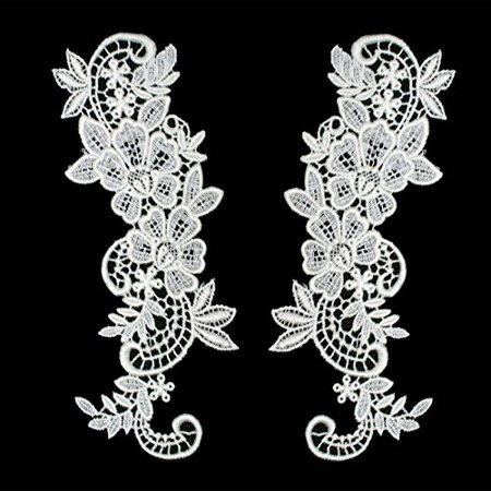 Pair of White or Ivory Floral Venice Lace Applique Embroidered Bridal Guipure Patch Motif (2 pieces) (Ivory) (White Floral Applique)