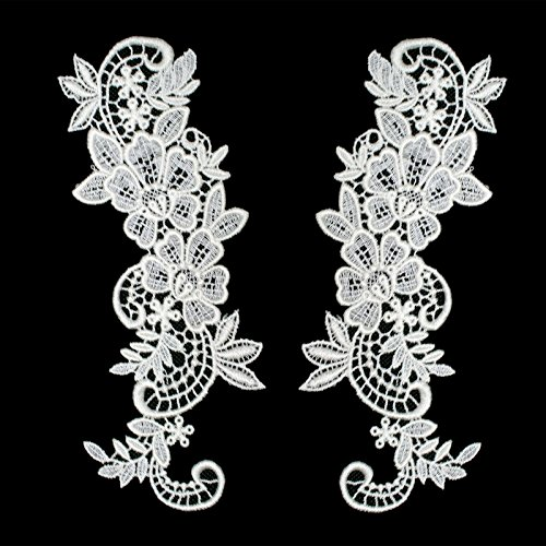 Pair of White or Ivory Floral Venice Lace Applique Embroidered Bridal Guipure Patch Motif (2 pieces) (Ivory)