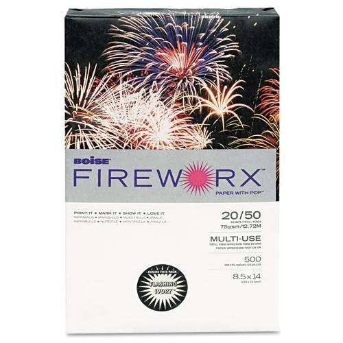 CASCADES MP2204IY Fireworx Colored Paper, 20lb, 8-1/2 X 14, Flashing Ivory, 500 Sheets/ream