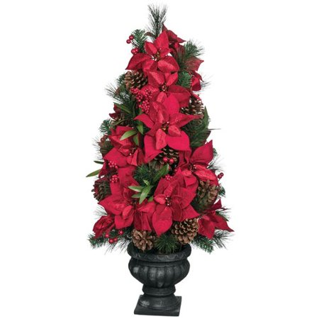 The Holiday Aisle Pine and Poinsettia Floor Foliage Topiary