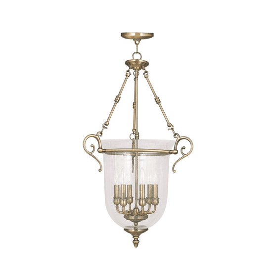 Pendants Porch 6 Light With Hand Blown Clear Seeded Glass Antique Brass size 20 in 360 Watts - World of Crystal - Walmart.com