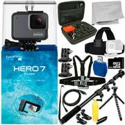 GoPro HERO7 HERO 7 Silver 15PC Accessory Bundle - Includes 32GB microSD Memory Card + High Speed Memory Card Reader + Heavy Duty Monopod + MORE