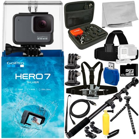 GoPro HERO7 HERO 7 Silver 15PC Accessory Bundle - Includes 32GB microSD Memory Card + High Speed Memory Card Reader + Heavy Duty Monopod +
