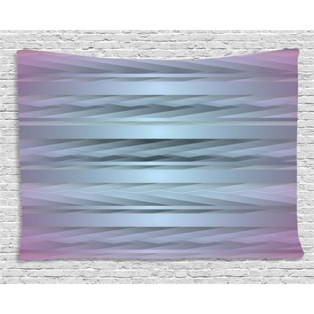 Modern Decor Tapestry, Gradient Toned Zig Zag Retro 80s Party Style Fragmented Stripes Graphic Art, Wall Hanging for Bedroom Living Room Dorm Decor, 60W X 40L Inches, Lilac Blue, by Ambesonne