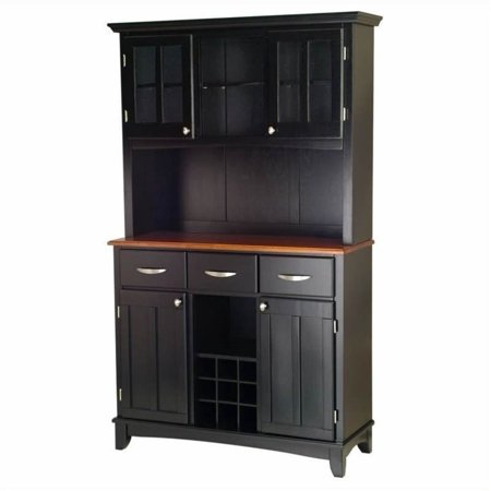 Bowery Hill 3 Drawer Wine Rack Buffet with 2 Door Hutch in Black