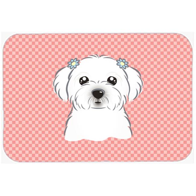 Checkerboard Blue Maltese Mouse Pad, Hot Pad Or Trivet, 7.75 x 9.25 In.
