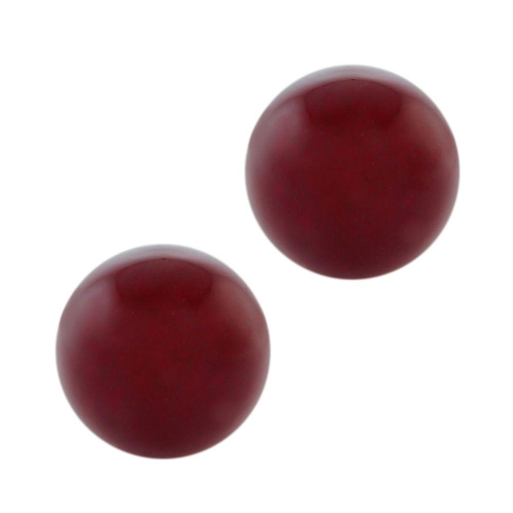 10mm Stunning Round Dark Red Jadeite on 925 Sterling Silver Earring Studs