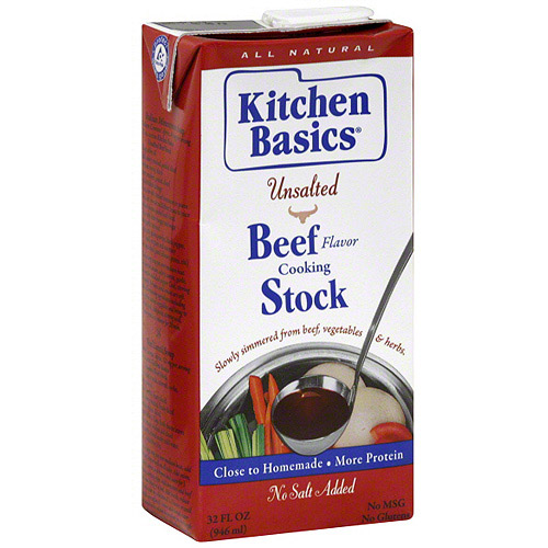 Kitchen Basics Beef Unsalted Stock, 32 oz (Pack of 12)