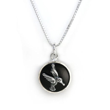 Sterling Silver Hummingbird Round Onyx Charm Pendant