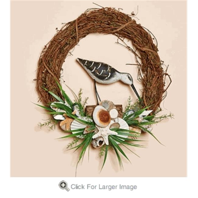 Harvest of Barnstable SSBW18 Grapevine Wreath with Shells & Bird