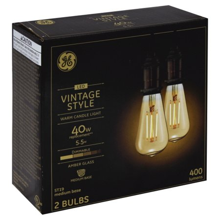 - GE LED 5.5W (60W Equivalent) Vintage ST19 General Purpose Bulbs, Amber Finish, Straight Filament, Medium Base 2pk