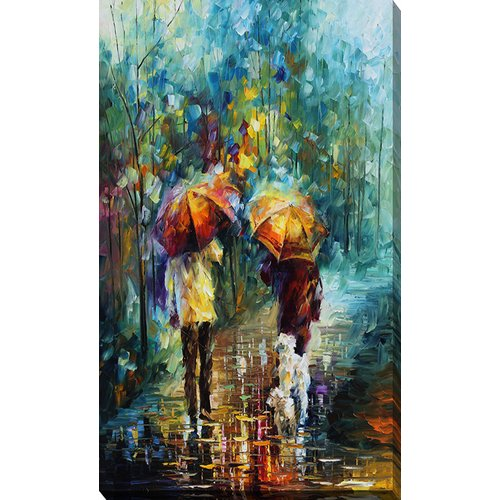 Picture Perfect International ''Friends with a Dog'' by Leonid Afremov Painting Print on Wrapped Canvas