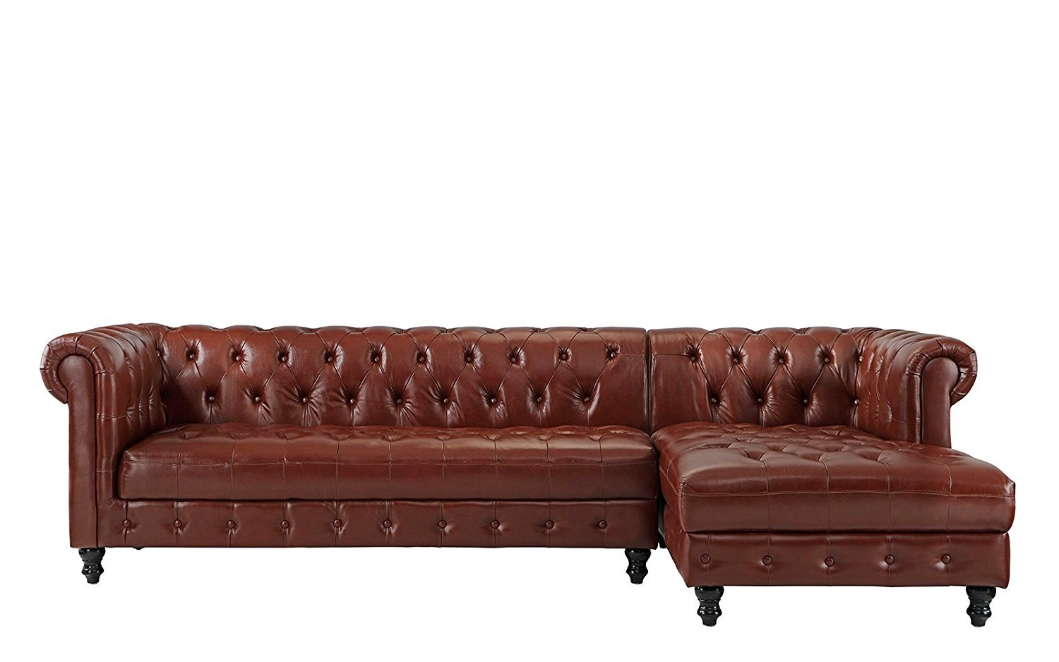 Classic Real Tufted Leather Chesterfield L Shape Sectional Sofa With Wide Chaise Light Brown Walmart Com Walmart Com