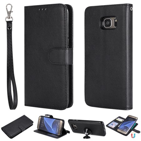 innovative design 0794a 125f9 Galaxy S7 Edge Case Wallet, S7 Edge Case, Allytech Premium Leather Flip  Case Cover & Card Slots Pocket, Wrist Design Detachable Slim Case for  Samsung ...