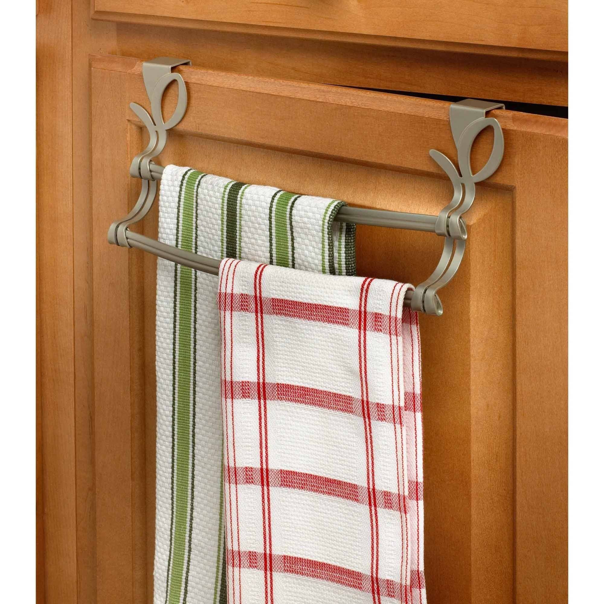 Spectrum Leaf Over the Cabinet Double Towel Bar, Satin Nickel PC