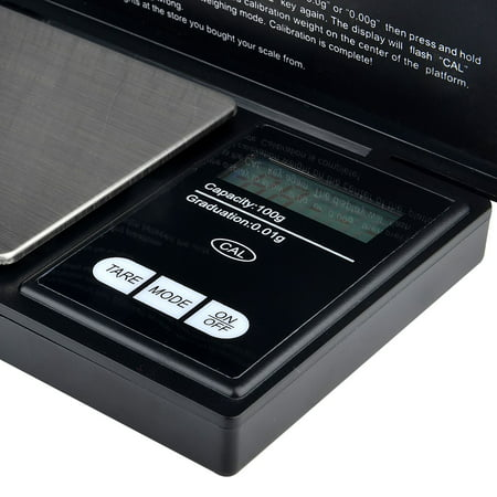 Insten Digital Pocket Scale .01 gram x 100g Small Pocket Jewelry Scale Gold Silver Coin Weight Herb with Stainless Steel Pan & LCD display (6 weighing modes : g / (Grams Chain)