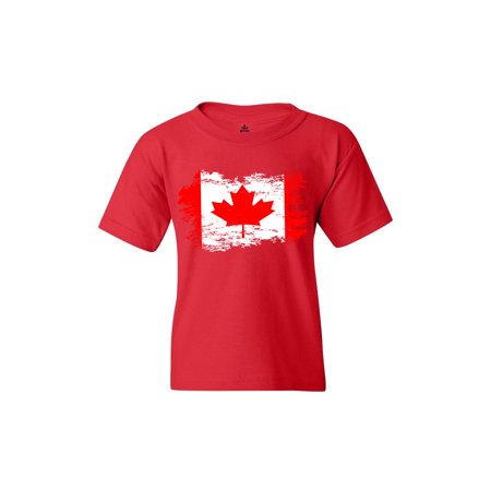 Shop4Ever Youth Distressed Canadian Flag Canada Leaf Graphic Youth T-Shirt