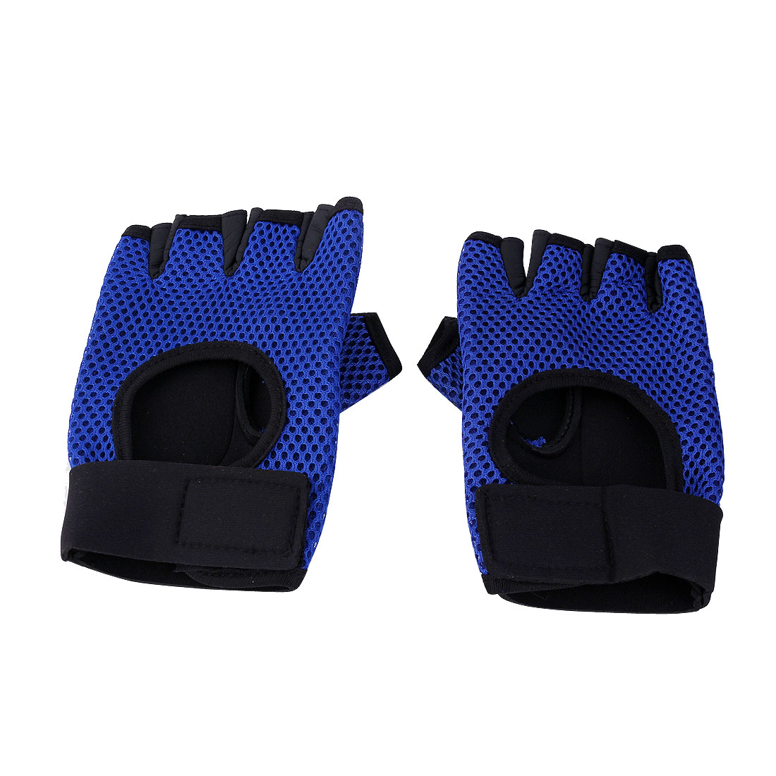 Outdoor Sports Nylon Elastic Half Finger Gloves Blue Pair for Cycling Climbing