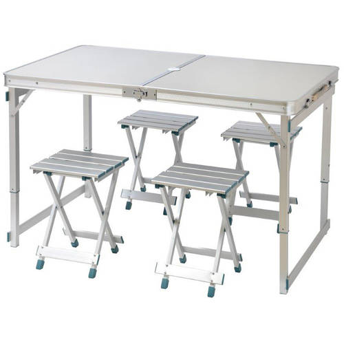 "47.2"" 4 Person Aluminum Lightweight Folding Camp Table with 4 Folding Stools by... by Trademark Innovations"