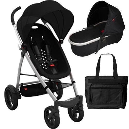 Phil & Teds SMBUGGYNBAS, Smart Buggy and Peanut Bassinet Bundle with Diaper Bag