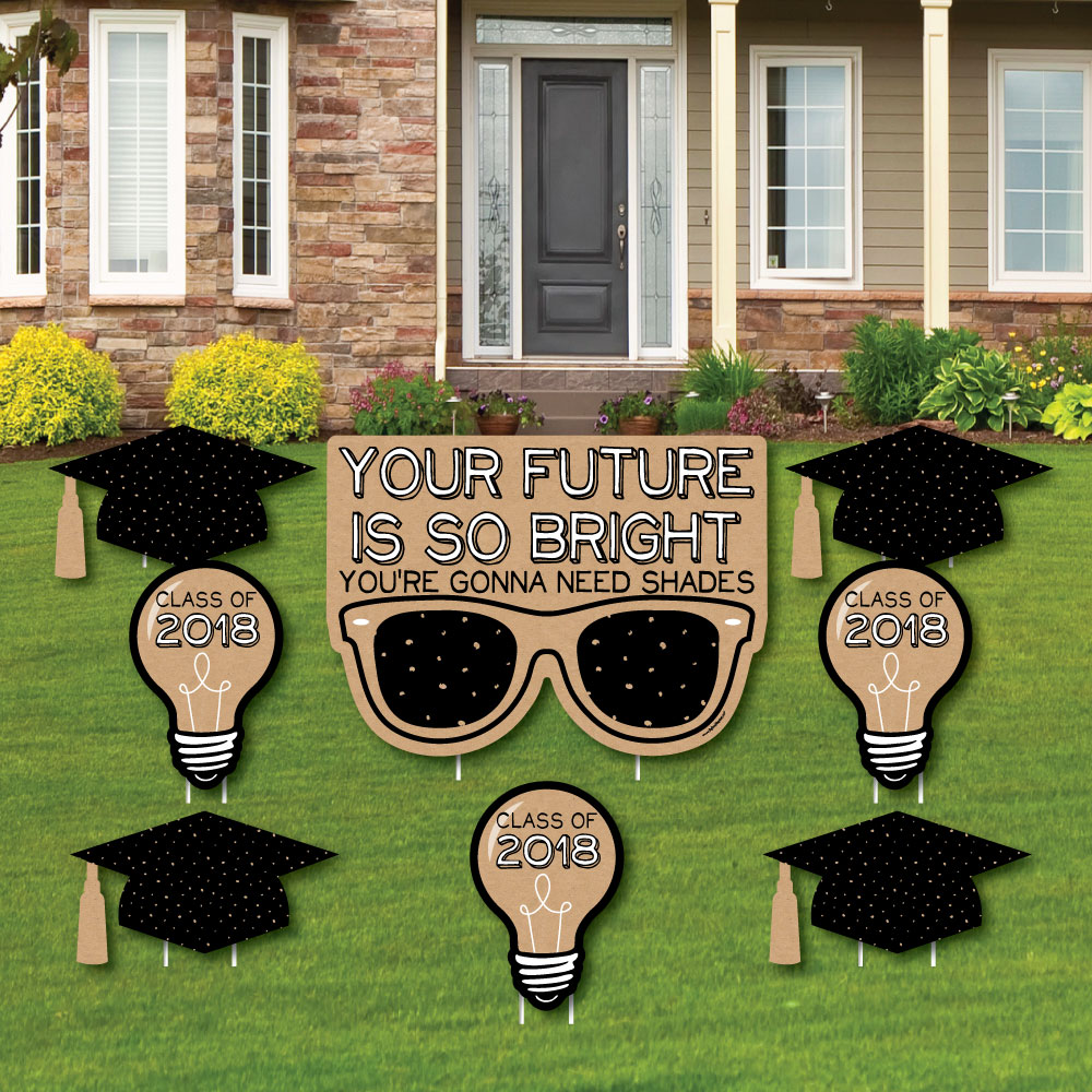 Bright Future - Grad Cap, Light Bulb & Sunglass Lawn Decorations - Outdoor Graduation Party Yard Decorations - 10 Piece