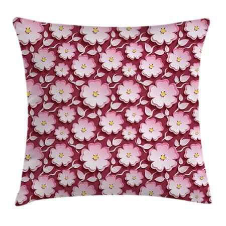 Pink And Yellow Theme (Floral Throw Pillow Cushion Cover, Macro Flower Petal of Japanese Cherry Blossom Sakura Tree Spring Theme, Decorative Square Accent Pillow Case, 16 X 16 Inches, Light Pink Maroon Yellow, by)