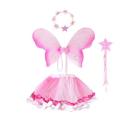Fairy Wing Princess Tutu Costume Set For Girls Dress up and Ballet Dance Pink