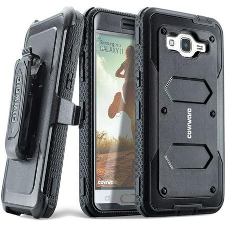 Samsung Galaxy Luna / Galaxy J1 (2016) J120 / Amp 2 / Express 3 case, COVRWARE [Aegis Series] Built-in [Screen Protector] Heavy Duty Full-Body Rugged Holster Armor [Belt Clip][Kickstand], Black