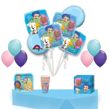 Bubble Guppies Party Supplies and Balloon Decoration Kit Complete Hassle Free Kit for 16 Guests - Bubble Guppies Party Food Ideas