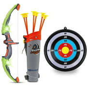 Toyvelt Bow and Arrow Set for Kids -Light Up Archery Toy Set -Includes 6 Suction Cup Arrows, Target & Quiver - for Boys & Girls Ages 3 -12 Years Old (Green)