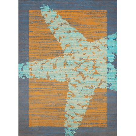 United Weavers Panama Jack Island Breeze Star Fish Border Coastal Peach Woven Polypropylene Area Rug Border Polypropylene Rug
