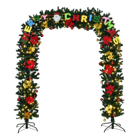 Goplus 7.5' x 5'Pre-Lit Artificial Arched Christmas Tree Archway Decoration w/LED - Tree Face Decorations