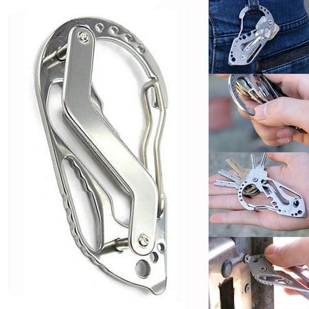 Stainless Steel Bottle Opener Keychain Multi-function Key Clip Pocket Tools (Keychain Bottle Opener Lighter)