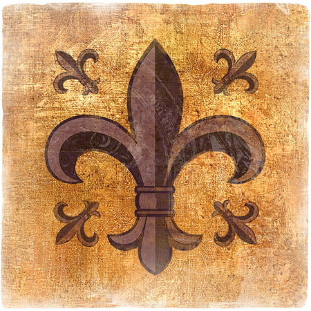 Thirstystone Ambiance Drink Coasters Set, Fleur de Lis, Travertine