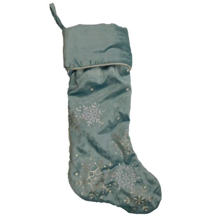 Blue Velour Silver Snowflake Christmas Holiday - Holiday Stockings